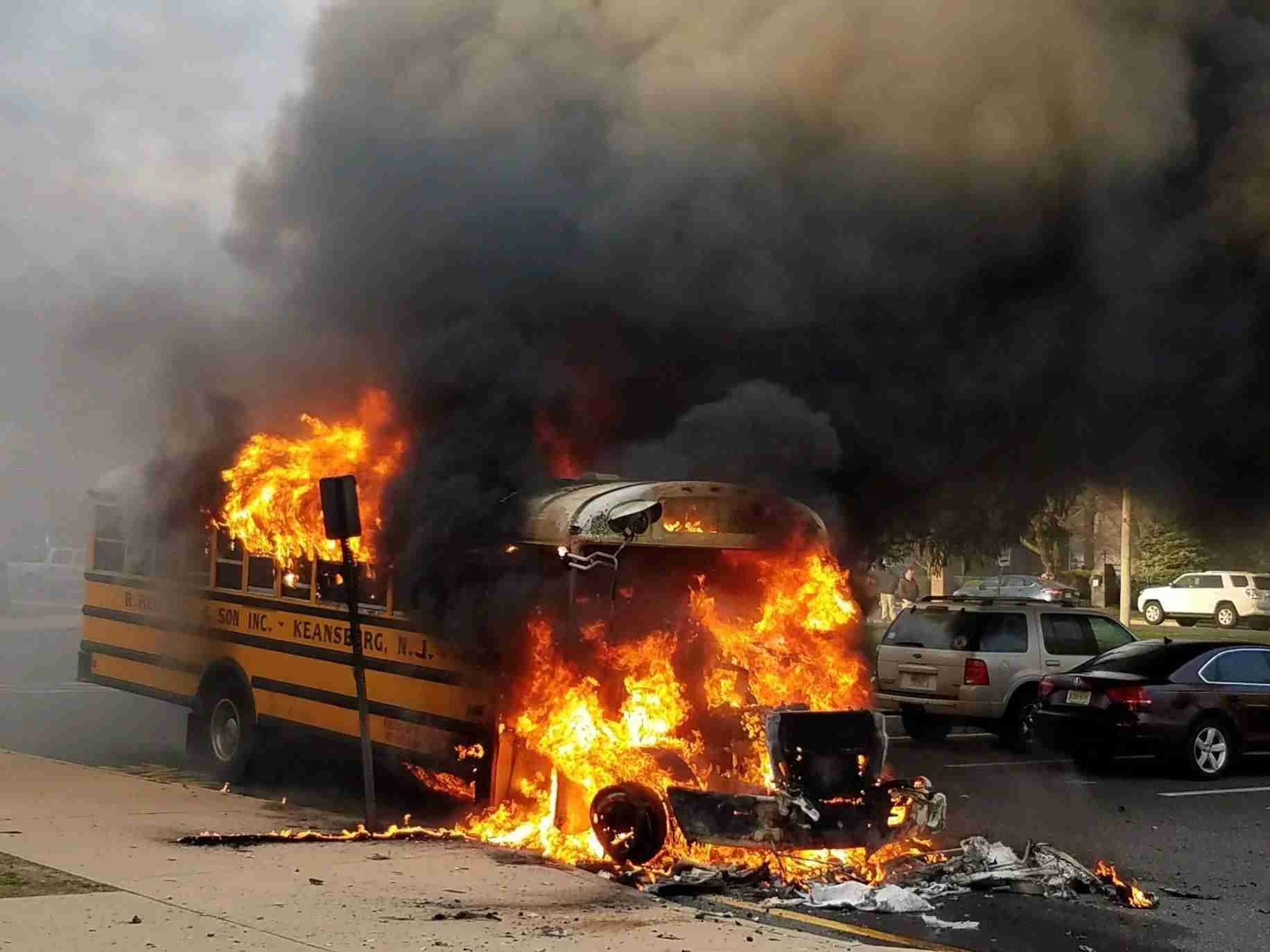 Middletown High School north bus fire