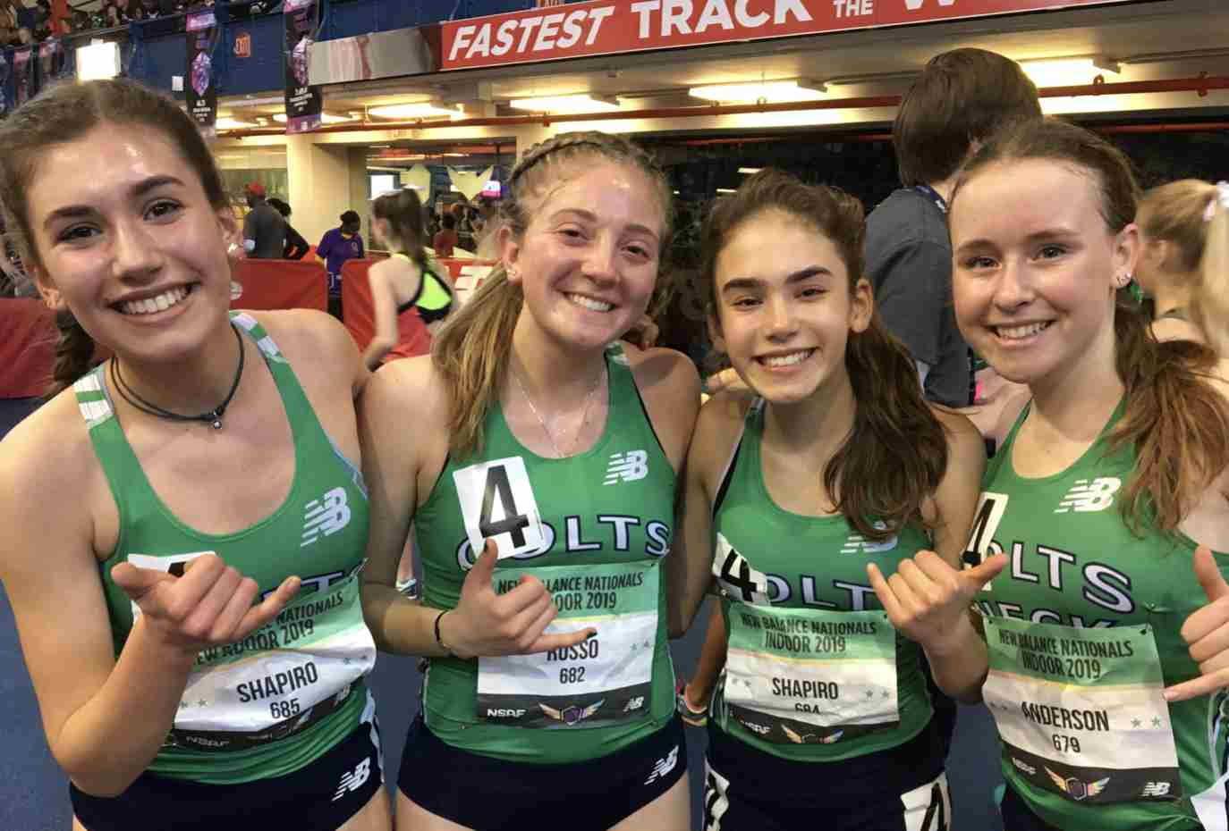 Natalie Shapiro, Delia Russo, Lilly Shapiro Catie Anderson Colts Neck track running